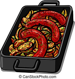 sausages with potatoes - illustration of baked grilled...