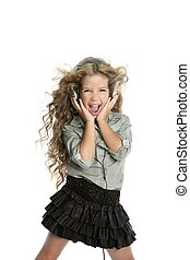 dancing little blond girl headphones music singing on white...