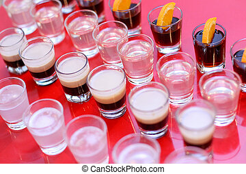 Shoots of vodka, B52, jagermeister, tequila - Shots of...