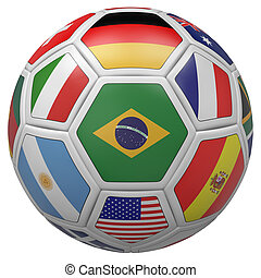 Soccer ball with Brazil flag in the front