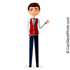Glad young teacher showing thumb up.Smiling man character. Vector.