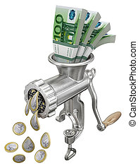 Euro money concept with meat grinder - 3D illustration