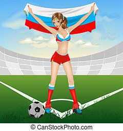 Russian girl soccer fan