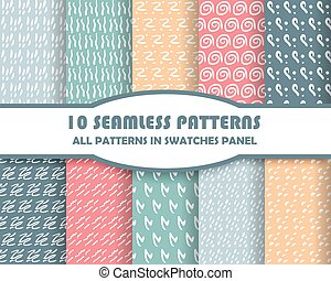 vector set of geometric seamless patterns for design