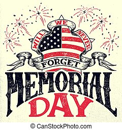 Memorial Day vintage greeting card - Memorial Day, we will...