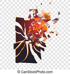 Cracked phone screen shatters into pieces. Broken smartphone split by the explosion on transparent background. Display of the phone shattered. Modern gadget needs to be repaired.
