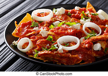 chilaquiles Mexican nachos with tomato salsa, chicken and...