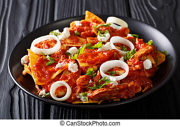 Homemade chilaquiles with chicken and tomato salsa closeup....