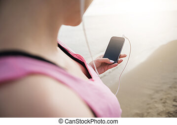 Choose the favourite playlist for jogging