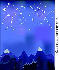 Night landscape with mountains and trees for banner or...