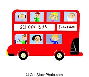 Bus with kids for school or excurtion