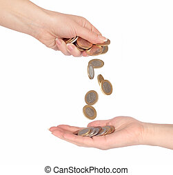 Coins fall from hand to hand isolated