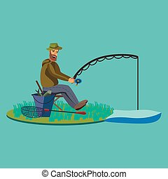 Flat fisherman hat sits on shore with fishing rod in hand...