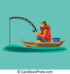 Flat fisherman hat sits on boat with trolling fishing rod in...