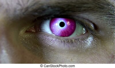 Close-up of a pink eye with an electric shock 4k
