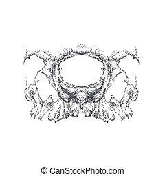 Abstract dotwork horror grunge skull.