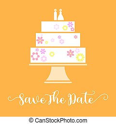 Save the date with wedding cake, flat design vector for invitation card
