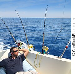 marinheiro, homem, pesca, Descansar, bote, verão,...