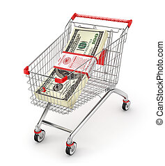 Stack of dollars in the shopping cart. Money Trolley. 3d illustration