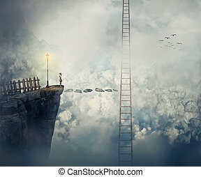 reach the ladder - Imaginary view as a young boy stand on...