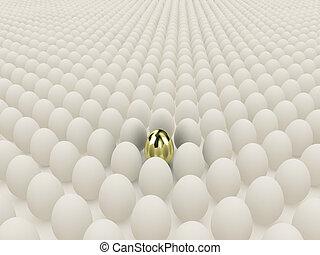 Egg - Illustration of white eggs round one gold egg