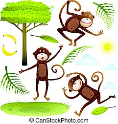 Funny Monkeys friends with tree leaves sun clouds lawn clip art collection