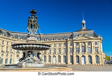 Fountain of the Three Graces at on the Place de la Bourse in...