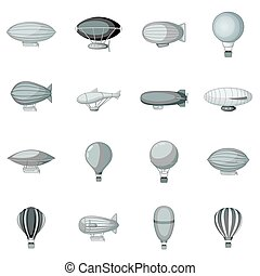 Vintage balloons icons set monochrome - Vintage balloons...