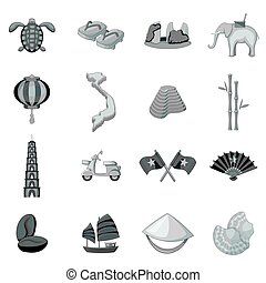 Vietnam travel icons set monochrome - Vietnam travel icons...