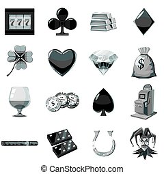 Casino icons set monochrome