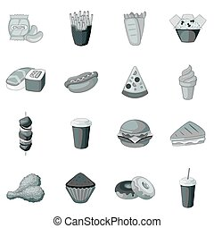 Fast food icons set monochrome - Fast food icons set in...
