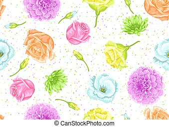 Seamless pattern with decorative delicate flowers. Easy to...