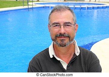 3º edad, sonriente, hombre, vacaciones, azul, piscina,...