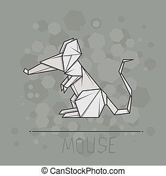 Vector illustration paper origami of mouse. - Vector simple...