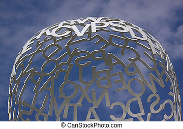Composition with white letters on a blue sky. Detail of...