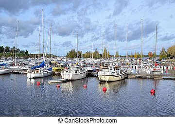 Beautiful harbor of Lappeenranta in a cloudy  day