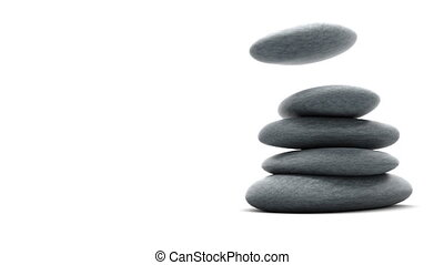 Stones isolated on white slowmotion