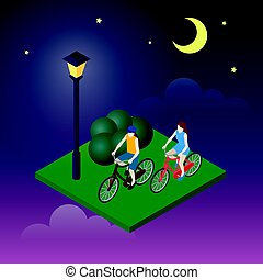 Moonligt night in park. Female and male cyclists riding on a...