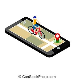 Isometric location. Mobile geo tracking. Male cyclist riding...