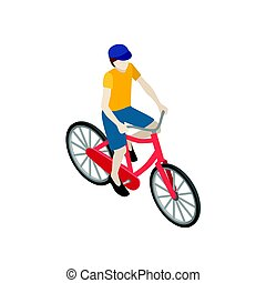 Male cyclist riding on a bicycle. Flat 3d isometric vector illustration