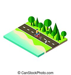 Man cycling on countryside summer sunny road or highway -...