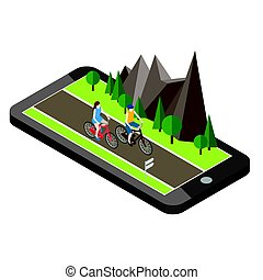 Isometric countryside. Summer road. Mobile geo tracking....