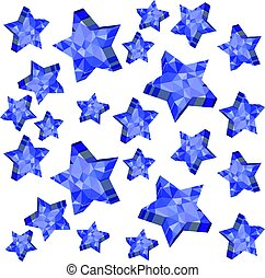 3D falling stars isolated on white background