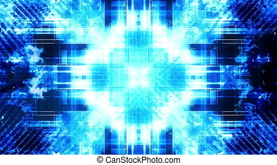 Blue VJ high tech mashup animated looping abstract CG background
