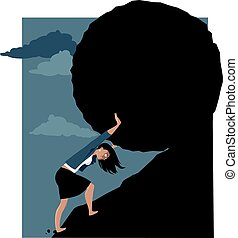 Woman under pressure - Woman rolling a huge rock uphill, EPS...