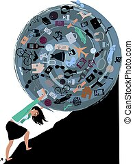 Burden of possessions - Woman rolling a huge ball of...