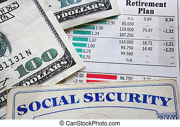 plan and social security - social security card, money and...