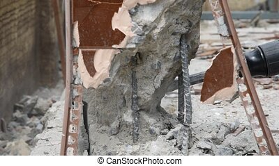 Break brick wall by drill - Break brick wall by construction...