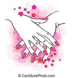 nails hands2 - Vector illustration of hands with nailpolish