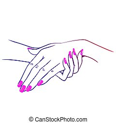 nails hands4 - Vector illustration of hands with nailpolish